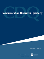 Communication Disorders Quarterly Journal Subscription