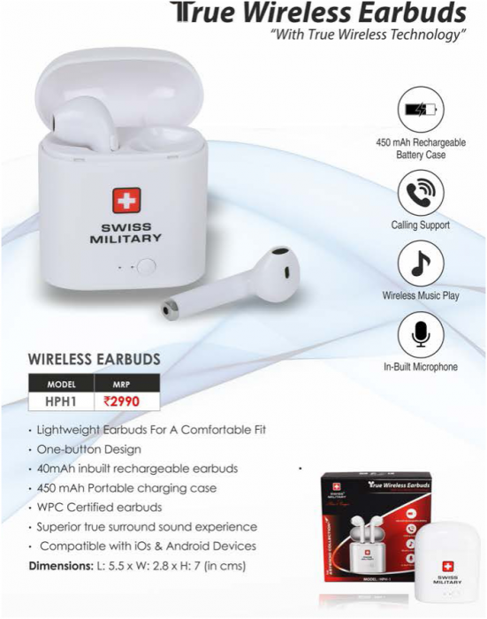 SWISS MILITARY WIRELESS EARBUDS WORTH RS. 3490/- - Free gift with Open Magazine 1 Year Subscription