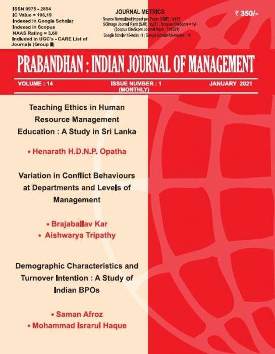 PRABANDHAN : INDIAN JOURNAL OF MANAGEMENT Journal Subscription